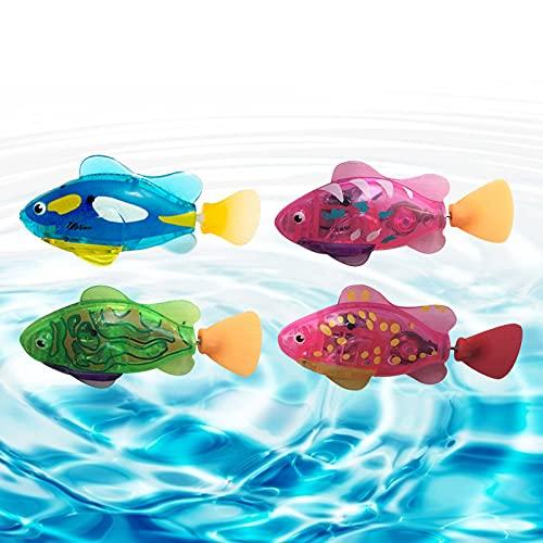 4 STÜCK Schwimmender Roboterfisch mit LED-Licht, Elektrisches Schwimmen Fisch, Wasser Spielzeug Kätzchen Spielzeug, Kind Spielzeug, Mini Naturgetreue Roboter Fisch, Wasserbatteriebetriebe Fisch
