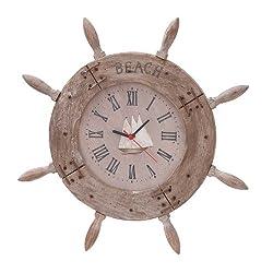 Deco 79 Wood Ship Wheel Clock Nautical Maritime Decor, 20-Inch