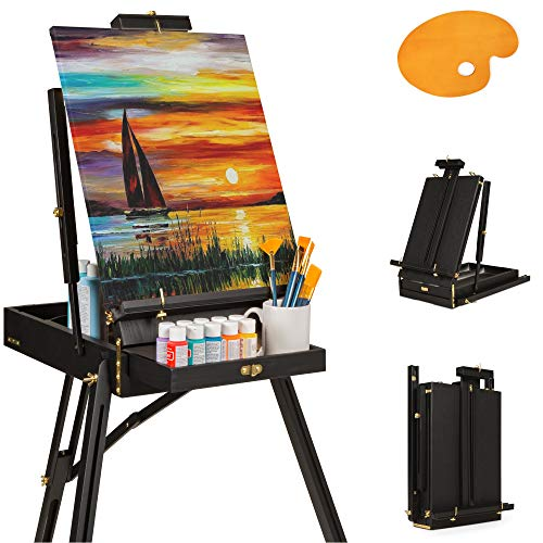 Best Choice Products Portable Wooden Folding French Easel Adjustable Sketch Box Artist Tripod for Painting, Drawing, Sketching w/Drawer, Pallet, Handle-Black