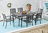 VICLLAX 7-Piece Outdoor Patio Dining Furniture Set, Dining Table with Umbrella Hole, Patio Stackable Chairs