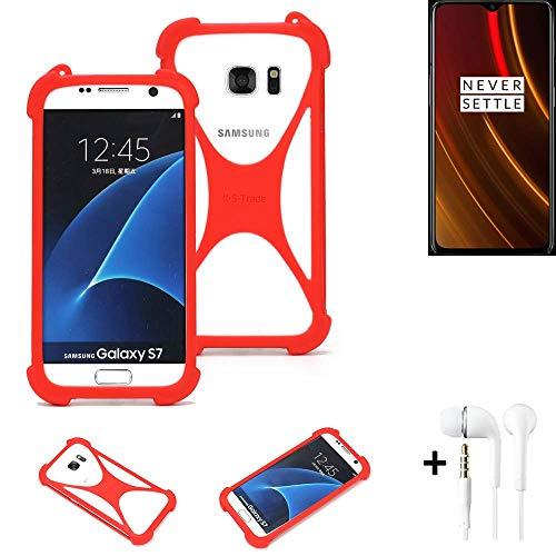 K-S-Trade® Handyhülle + Kopfhörer Für OnePlus 6T McLaren Edition Schutzhülle Bumper Silikon Schutz Hülle Cover Case Silikoncase Silikonbumper TPU Softcase Smartphone, Rot (1x),