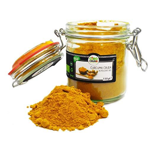 Curcuma in Polvere Bio Cruda, Turmeric Powder Raw Organic - 150gr - Biologica, 100% pura e naturale, Confezione Ermetica in Vet