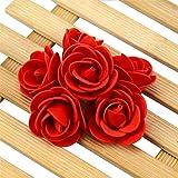 50PCS / Lot Artificial Mini PE Foam Rose Flower Head Hecho a Mano DIY Boda Decoración del hogar DIY Scrapbooking Flor Falsa Bola de Beso - Rojo Oscuro