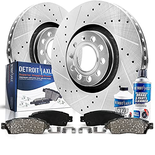 Detroit Axle - 288 Front Drilled & Slotted Rotors + Ceramic Brake Pads With Hardware + Brake Cleaner And Fluid Replacement for Audi A3 Volkswagen Beetle EOS Jetta Rabbit - 6pc Set