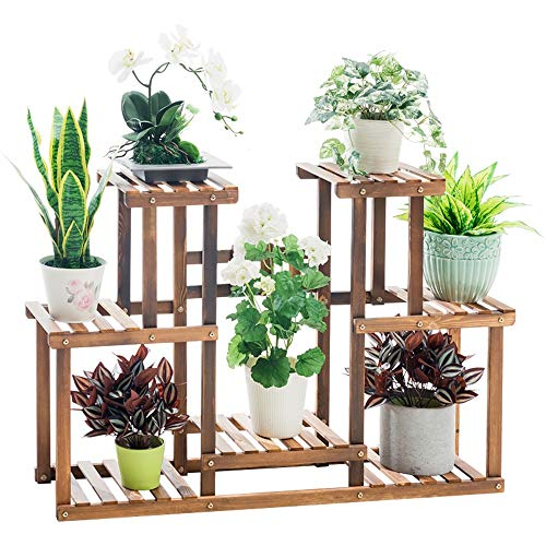 FLYSXP Multi-Layer Wood Floor Stand to Save Space Living Room Balcony Potted Plant Display Stand Durable Frame Flower Stand