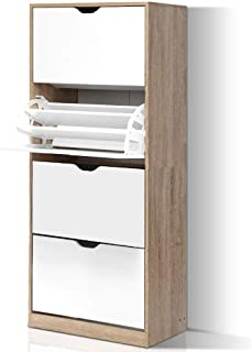 Artiss 60 Pairs Shoe Rack Cabinet Wooden 3-Tier Adjustable Shoe Organiser Shelves Cupboard