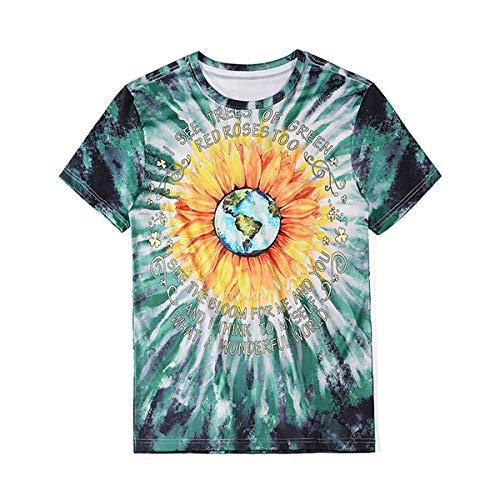 CH-BZ 3D gráfico Verano Manga Corta Casual niñas tee Top Camiseta Unisex 3D Impreso Tops Tees Casual Manga Corta Camisetas Camisetas t-Shirts Tops Casuales para Hombres,Dt1043,M