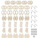 junengSO Pendiente Colgante, 70 Pcs/Set Pendientes de joyería de Madera sin terminar Espacios en Blanco con Ganchos para la Oreja Anillo de Apertura