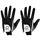 FINGER TEN Mens Golf Glove Black Left Right Hand 2 Pack, Hot Wet Rain Grip, Fit Small Medium Large XL (Large Black, Left)