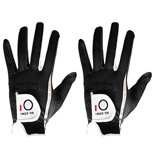 FINGER TEN Men's Golf Glove Rain Grip Pair Both Hand or 2 Pack Left Right Hand, Hot Wet Weather No Sweat, Black Gray Green, Fit Size Small Medium Large XL (M/Large Black, Left)