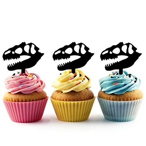 TA0274 Dinosaur Skull Fossil Silhouette Party Wedding Birthday Acrylic Cupcake Toppers Decor 10 pcs