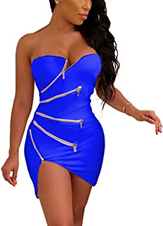 62a85ade39 Women s Sexy Club Outfits - Unique Zipper Front Strapless Tube Mini Bodycon  Dress