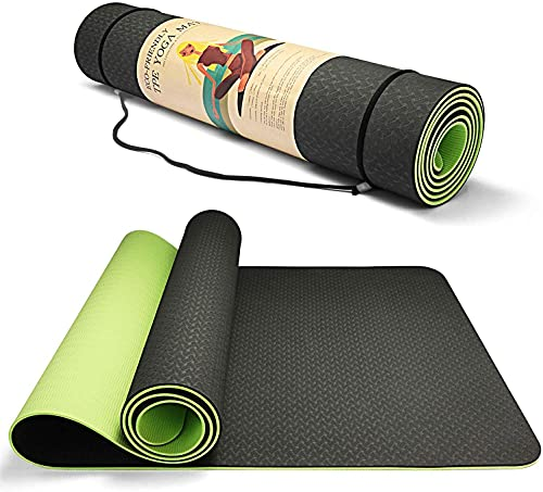 Hatonky Tappetino da Yoga, Tappetino Palestra Fitness 100% Ecologico TPE Double-Sided Antiscivolo Yoga Mats 183cmx63cmx0.6cm… (Verde scuro)
