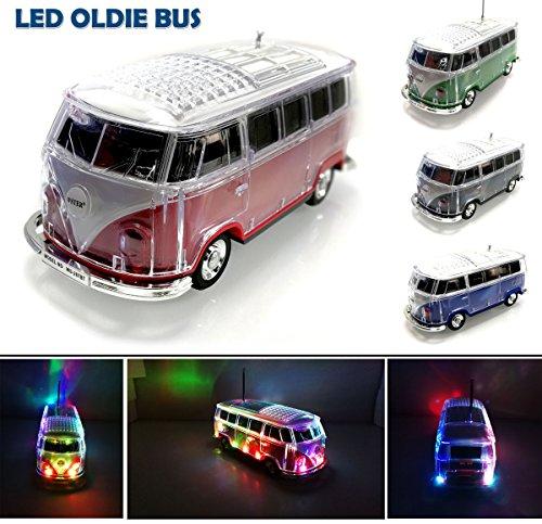 Nostalgie LED Bully Bus Box | Bluetooth | ROT | CAR Multimedia Spaeker | Radio | MP3 | USB | MicroSD |SUPER Sound |Lithium-Ionen Akku|20x7x6cm