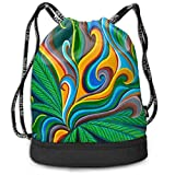 Sacs de sport, sacs à dos, Polyester Drawstring Sack Theft Proof Waterproof Large Shoulder Bags Large Capacity For Basketball, Volleyball, Baseball, (Tie Dye Color Weed Floral Green)
