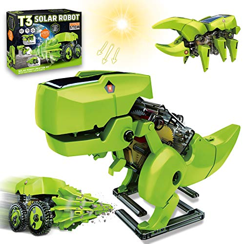 HOMOFY STEM Projects for Kids Ages 10-12 Kids Building Projects Solar Robot Kit 3-in-1 Solar Power DIY Dinosaurs Robot Science Kits Toys for Kids 10 11 12 Year Olds Boys Girls Gifts