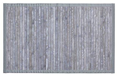 WENKO Badematte Bamboo Grau - Badvorleger mit Anti-Rutsch Beschichtung, Bambus, 50 x 80 cm, Grau