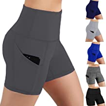 JEI-MEN Yoga Shorts for Women High Waist, Highly Control Workout Running Athletic Biker Shorts with Pockets
