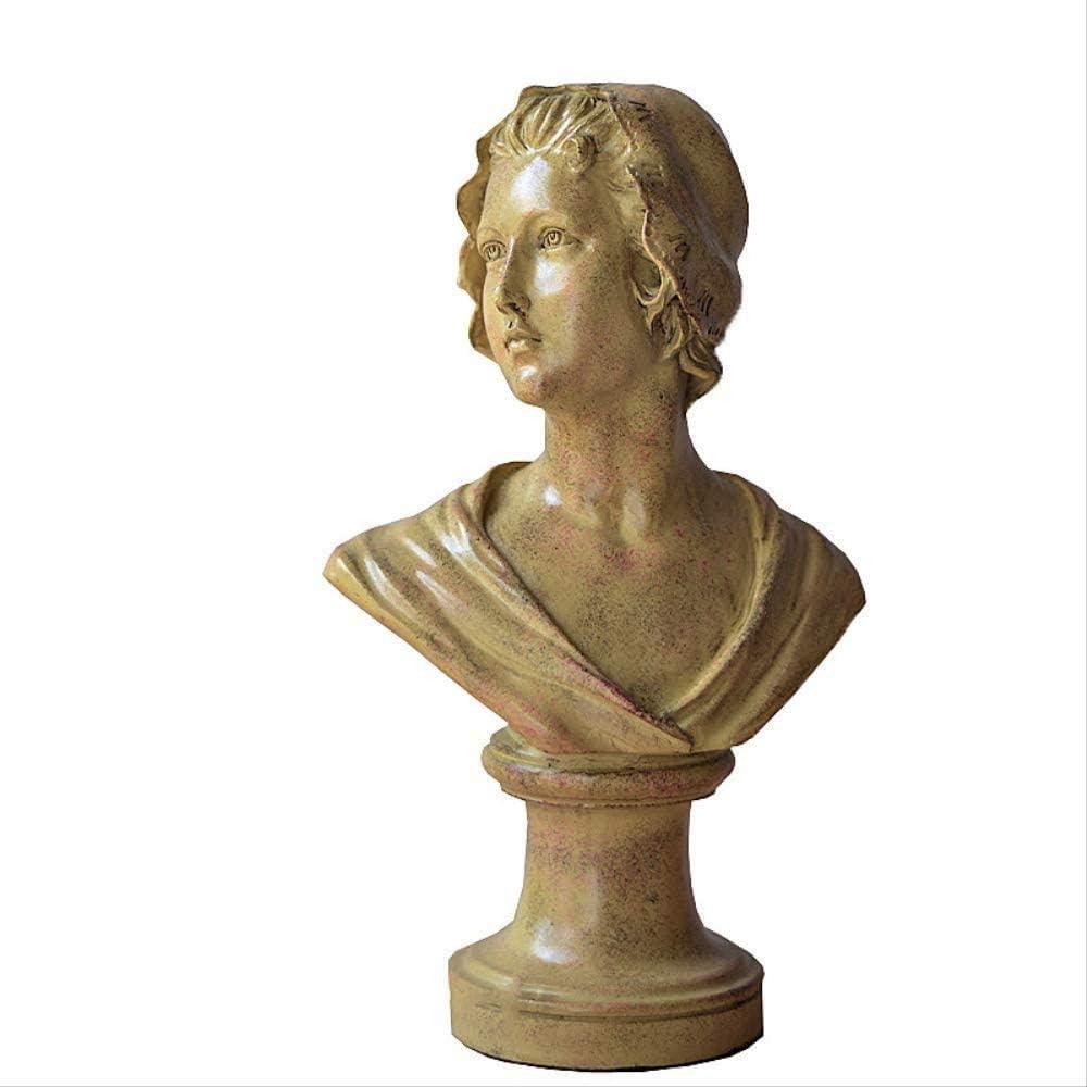 KUPR Escultura Adorno Estatuilla Princesa Atenea Estatua Campo de arroz Chica Escultura Decoración Busto Retrato Artesanía Retro Gabinete de Vino Suministros de mobiliario