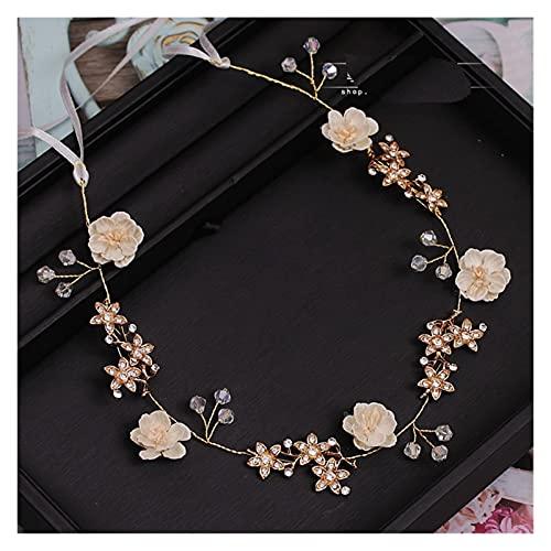 Hermosa flor hecha a mano hilo joyería flexible suave cadena tiara novia...