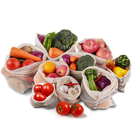 Wiederverwendbar Gemüsebeutel,Roleadro 9er Set Baumwolle Stoff Obstbeutel mit Kordelzug Gewichtsangabe Gemüsenetze Waschbar Veggie Bag Eco Mehrweg Obst Beutel und Brotbeutel