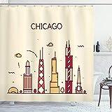 ABAKUHAUS Chicago Skyline Duschvorhang, Gekritzel-Stadt, mit 12 Ringe Set Wasserdicht Stielvoll Modern Farbfest & Schimmel Resistent, 175x200 cm, Mehrfarbig