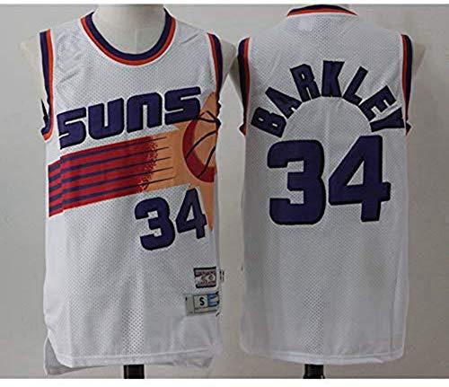 Wo nice Uniformes De Baloncesto para Hombre, Phoenix Suns # 34 Charles Barkley Chalecos Casuales De La NBA Jerseys De Baloncesto Retro para Deportes Tops Camisetas,Blanco,XXL(185~190CM)