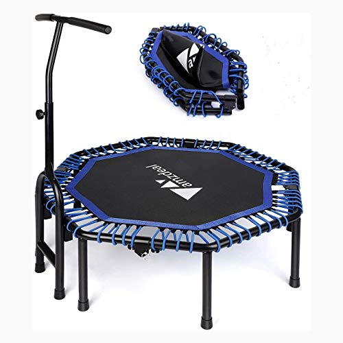 """amzdeal 47""""Foldable Mini Trampoline Fitness Rebounder with Adjustable Foam Handle, Exercise Trampoline for Kids Adults Indoor/Garden Workout"""