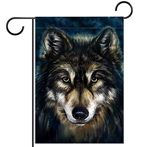 ART VVIES 28x40 inch Outdoor Decoration Without Stand Double Sided Cool Animal Head Wolf Small Yard Garden Flag