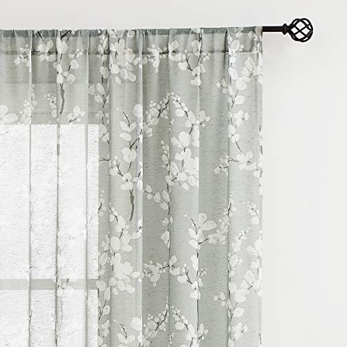 """Flax Linen Sheer Curtains Grey White Floral Print Window Drapes 63"""" Long Vintage Country Sheer Curtain Panels 2 Panels Rod Pocket"""