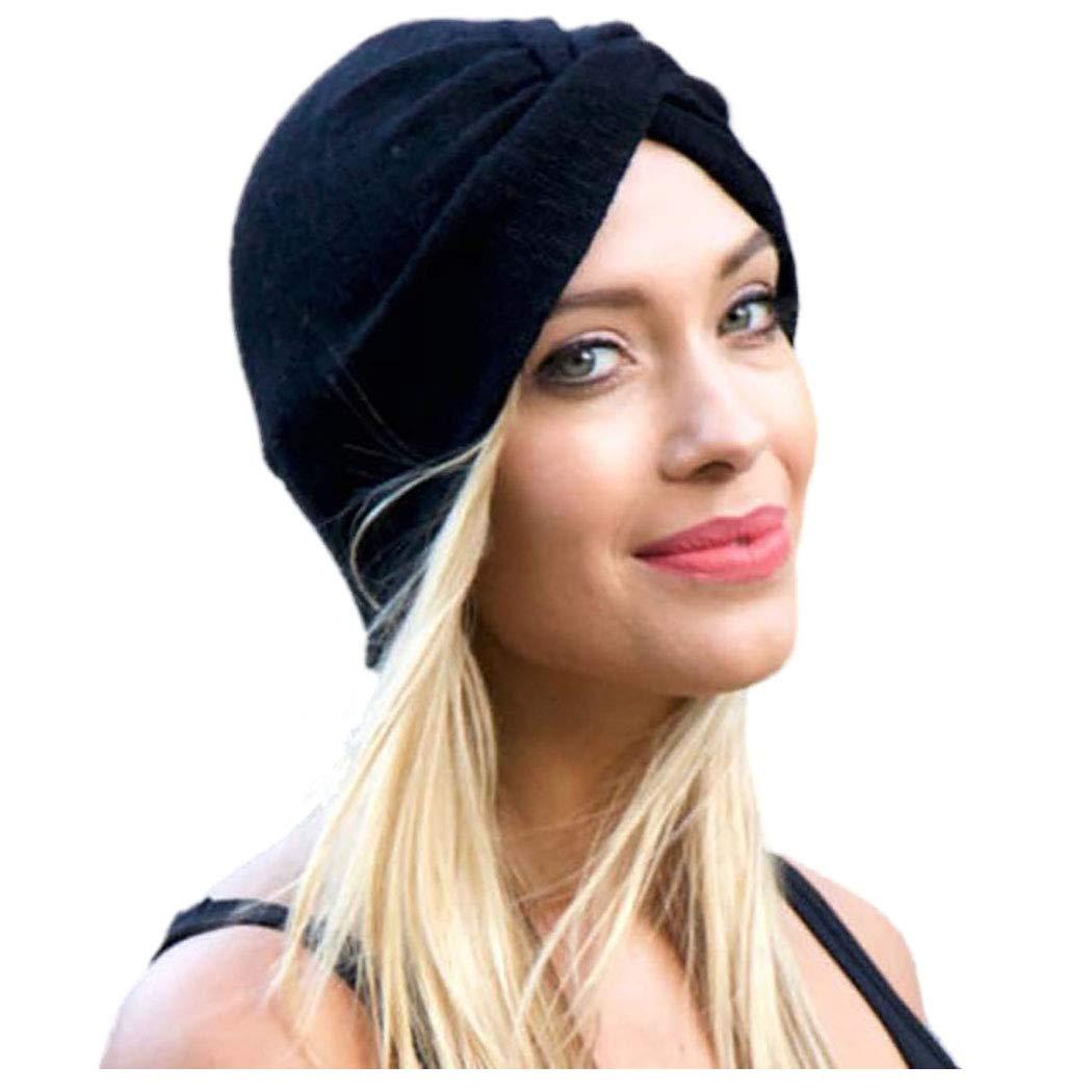 YBSHIN Boho African Headwrap Black Cross Knot Bonnet Turban Beanie Cap Headbands Chemo Cap Hats for Women and Girls (A-Black)