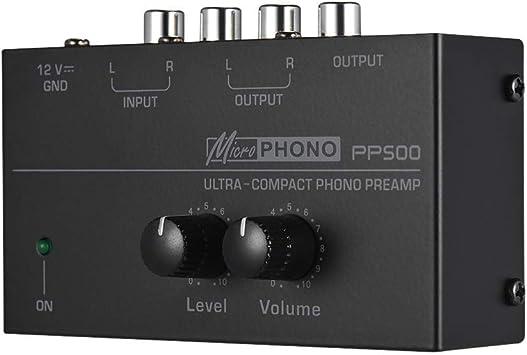 Phono Preamplificador Pre Amplificador Se/ñal Boost por Registro Reproductores Tocadiscos L/ínea Nivel Aux Rca Suelo PP500 Ultra Compacto Phono Preamp Audio Preamplificador de Negro