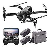 JAJU Drone con cámaras duales 4k para Adultos con visión Nocturna 5G WiFi HD Video en Vivo RC Quadcopter con GPS Auto Return Follow Me Drone portátil, para niños y Principiantes Buen Regalo