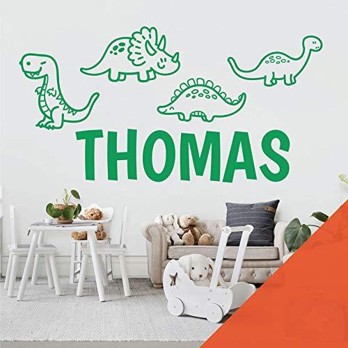 Adhesivo decorativo para pared con diseño de dinosaurios de dibujos animados, T-Rex, Apatosaurus, Jurassic World, color naranja