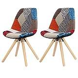 eSituro SDC0024 Chaise Design Chaise de Salle à Manger Lot de 2 Moderne Assise en Lin Patchwork, Multicolore