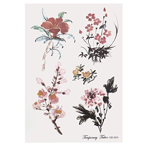 Cold Toy 10pcs fiore Temporanei Tatuaggi Tattoo adesivi impermeabile fiori serie Braccio finto trasferimento