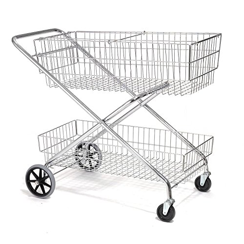 Wire Utility Basket Mail Cart 200 Lb. Capacity, 44