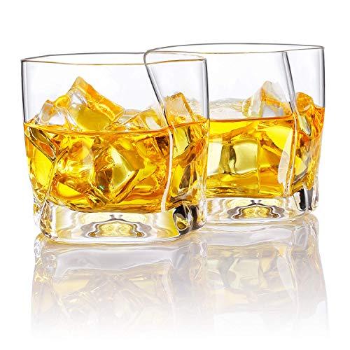 Homii Whisky Gläser, Whiskeygläser aus Kristall Set Geschenk, 2-teiliges,300ml