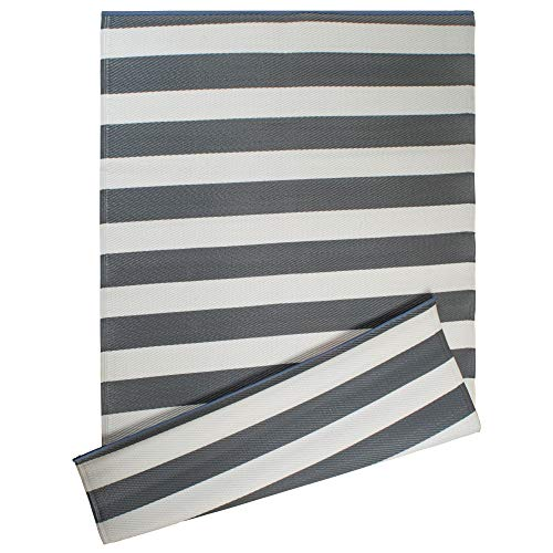 DII Reversible Indoor Woven Striped Outdoor Rug, 4x6, White & Gray