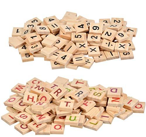 HONMIED Letras de Madera para Niños de 2 x 1,8 cm, 500 Pcs Letras Coloridos y Números Negros, Letras de Alfabetos de A a Z y Números, Alfabeto de Madera para Regalo, Decoración y Ortografía