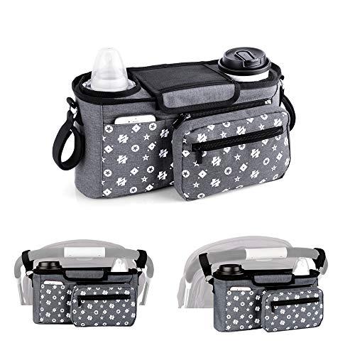 Kinderwagen-Organizer-Tasche mit isolierten Becherhaltern, Kinderwagen Aufbewahrungstasche für Babyzubehör – universell passend für alle stroller-Modelle (grau)