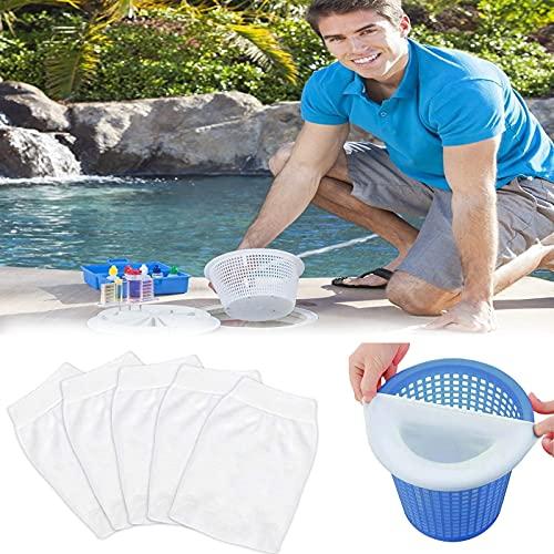 Funmo Pool Skimmer Socken, Körbe und Skimmer, Pool Skimmer Filter, Pool Skimmer Net, Filter Skimmer,Schwimmbad Skimmer,Skimmer,der Wegwerf-Feinfilter für Ihren Skimmerkorb, Weiß(5 Pcs)