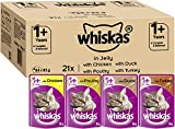 Whiskas Wet food pouches, delicious and tasty poultry selection in jelly, suitable for cats aged 1+, 84 x 85 g
