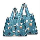 PXNH Bolsas de supermercado compras, reutilizables, plegables, paquete de 2 bolsas ecológicas ecológicas para el comprador, artículos de almacenamiento plegables M + L 01-HM