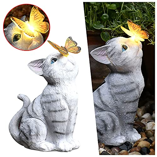 Figura decorativa de jardín con mariposa con luces solares para exteriores, diseño de mariposa de gato, decoración de patio, para decoración de césped de patio, regalo (7.08 x 10.63 x 5.12 pulgadas)