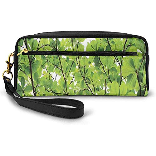 Close-up Tree Leaves from an Uprising Angle High Plants Summer Fresh Environment Habitat Small Makeup Bag Pencil Case 20cm * 5.5cm * 8.5cm