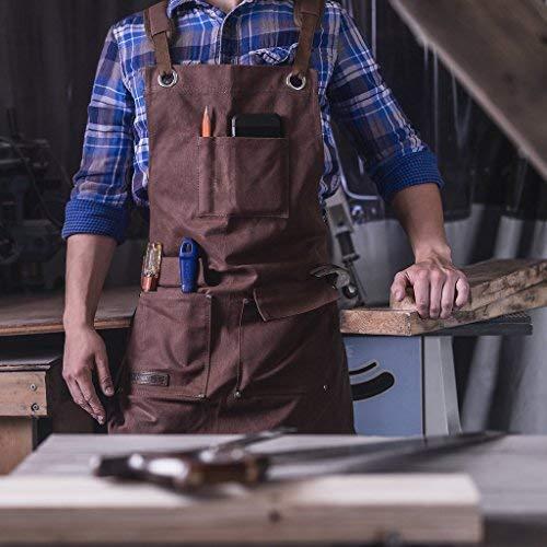 Texas Canvas Wares Piercings Canvas Heavy Duty Tablier d'atelier avec des Poches réglable jusqu'à...