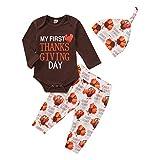 Aisheny Mi Primer Día de Acción de Gracias Trajes Bebé Niño Niña Mameluco Mono Pavo Pantalones de Dibujos Animados Sombrero 3 Piezas Conjunto de Ropa