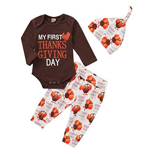 Aisheny Neugeborene Kleidung Set Baby Junge Mädchen Meinen Ersten Thanksgiving-Strampler + Türkei Bedruckte Hosen Hut
