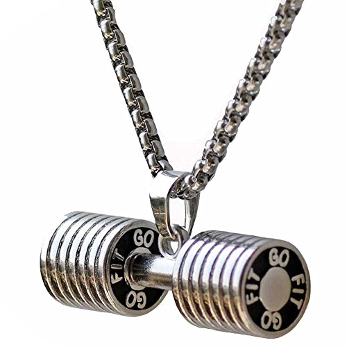 JAJAFOOK Men's Stainless Steel Fitness Gym Dumbbell Weight Lifters Barbell Chain Pendant Necklace Silver